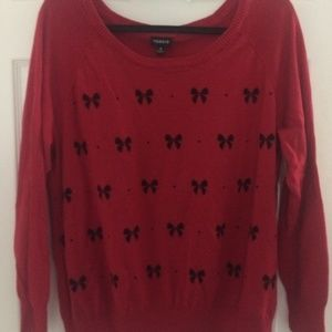 Torrid Size 2 Sweater Red with Black bow design